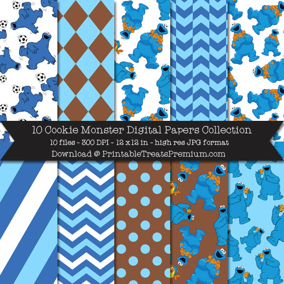 10 Cookie Monster Digital Papers Collection