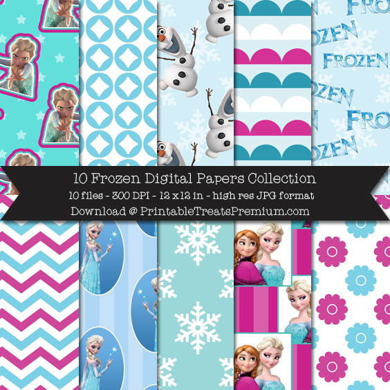 10 Frozen Digital Papers Collection