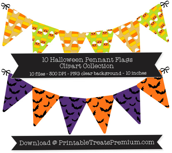 10 Halloween Pennant Flags Clipart Collection