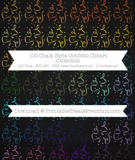 100 Chalk Style Confetti Clipart Collection