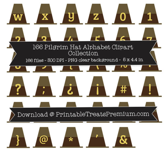 166 Pilgrim Hat Alphabet Clipart Collection