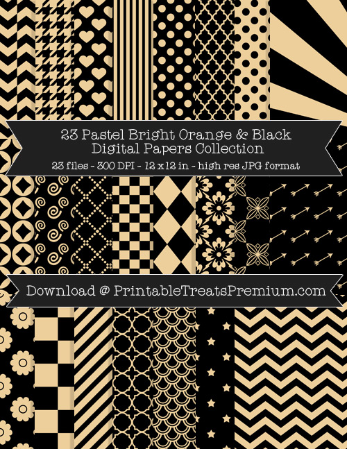 23 Pastel Bright Orange and Black Digital Papers Collection