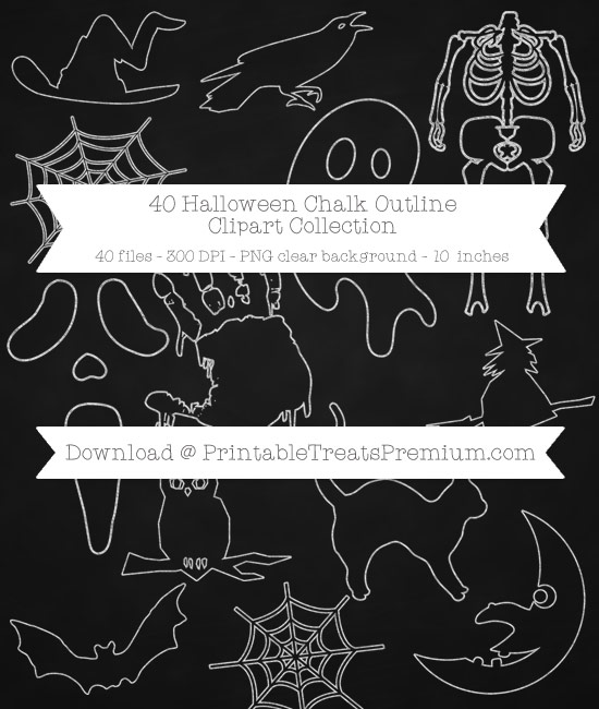 40 Halloween Chalk Outline Clipart Collection
