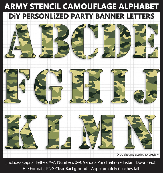 Love these cute army stencil camouflage clipart for birthday banners and classroom decoration - Letters, Numbers, Punctuation