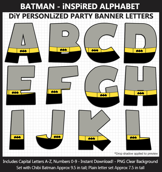 Love these cute Batman-Inspired alphabet clipart for birthday banners and classroom decoration - Letters and Numbers