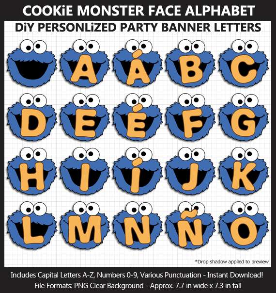 Love these cute Cookie Monster face alphabet clipart for birthday banners and classroom decoration - Letters, Numbers, Punctuation