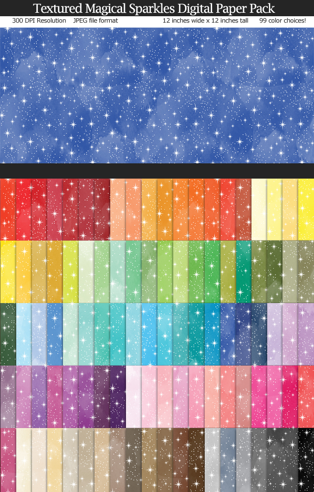 Love these fairytale magical sparkly digital papers! 99 colors 12x12 inches - Use for Scrapbook, Party Paper, Cards
