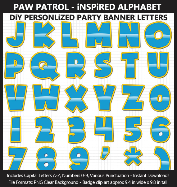 Love these cute Paw Patrol alphabet clipart for birthday banners and classroom decoration - Letters and Numbers Punctuation
