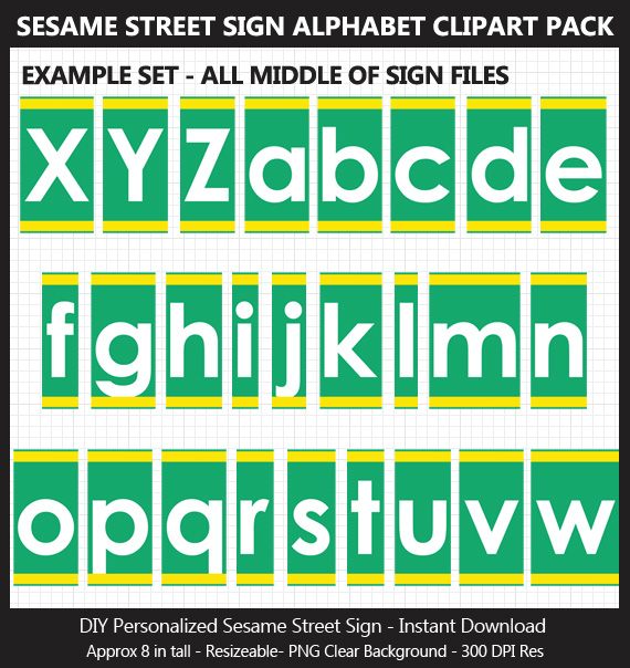 Love these cute Sesame Street sign alphabet clipart for birthday banners and classroom decoration - Letters and Numbers Punctuation