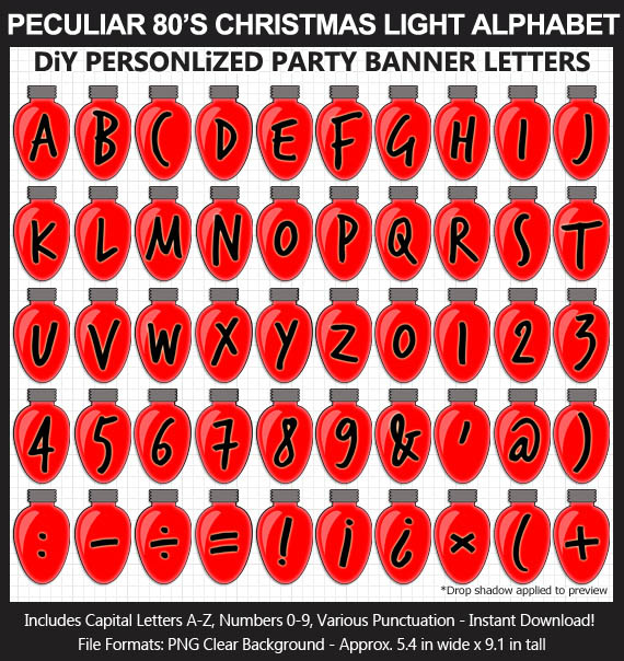Love these fun Stranger Things Christmas Lights clipart for a Stranger Things Birthday Party wall decoration - Letters, Numbers, Punctuation