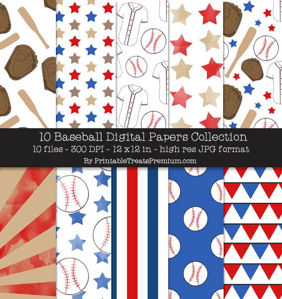 Baseball Digital Paper Pack for Scrapbooking, Party