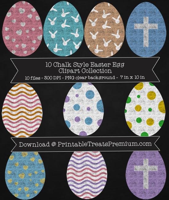 10 Chalk Style Easter Egg Clipart Collection