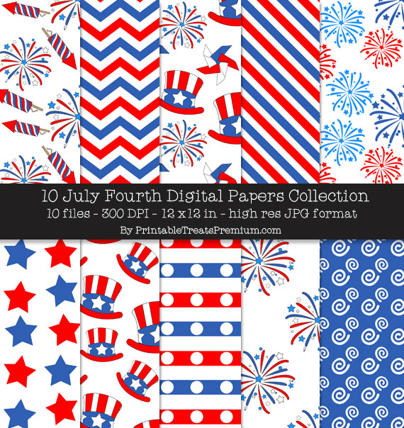 July Fourth Digital Paper Pack for Scrapbooking, Invitations, Wrapping Paper, Parties, 4th of July