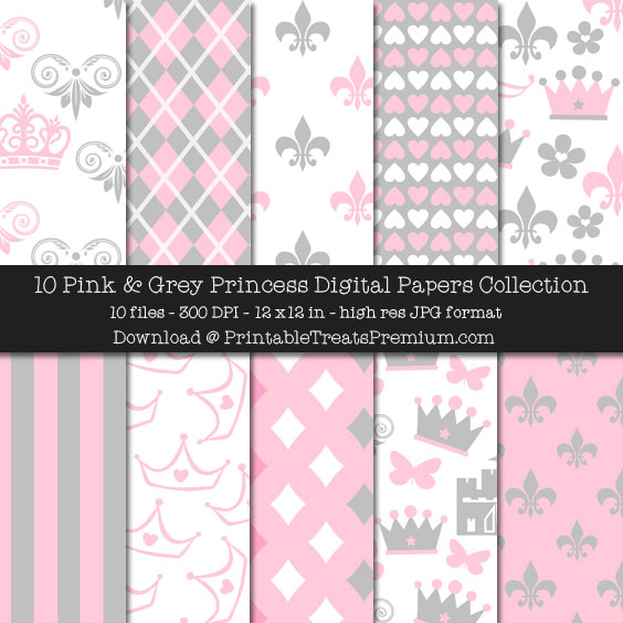 Pink and Grey Princess Digital Paper Pack for Scrapbooking, Invitations, Wrapping Paper, Parties, Baby Shower