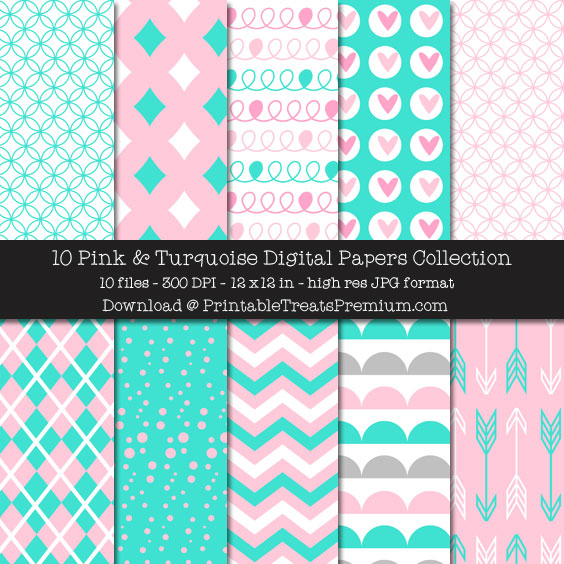 Pink and Turquoise Digital Paper Pack for Scrapbooking, Invitations, Wrapping Paper, Parties