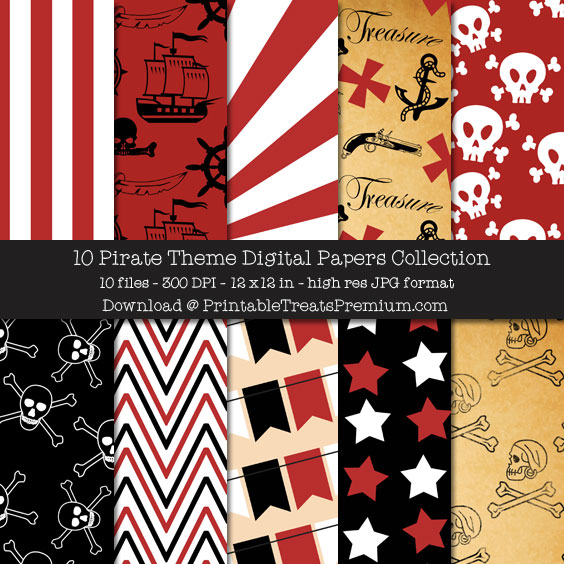 10 Pirate Theme Digital Papers Collection
