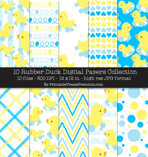 Rubber Duck Digital Paper Pack for Scrapbooking, Invitations, Wrapping Paper, Parties, Baby Shower