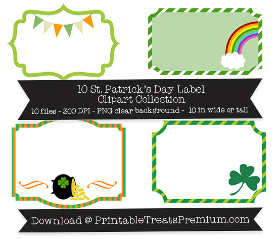 St. Patrick's Day Labels Clipart Pack