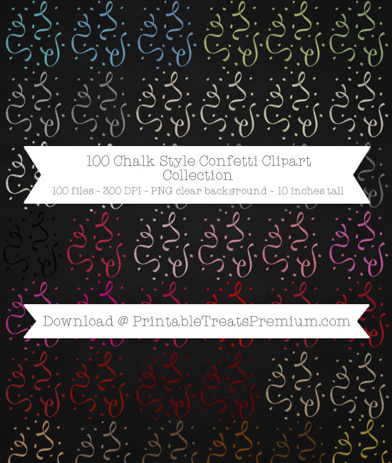 100 Chalk Style Confetti Clipart Collection