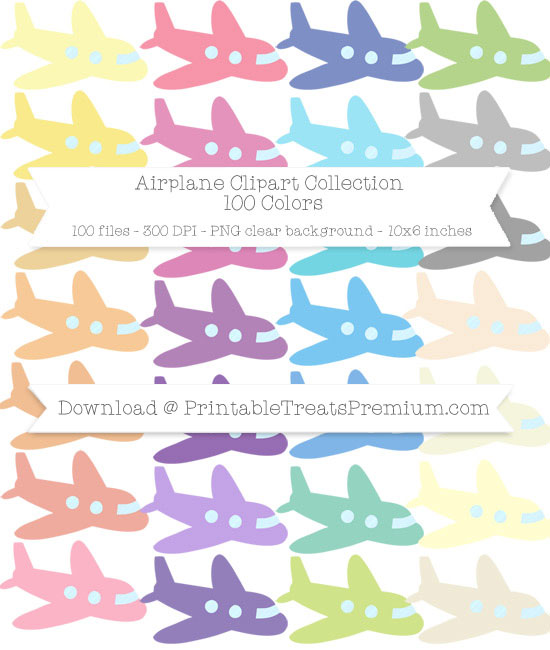 100 Colors Airplane Clipart Collection