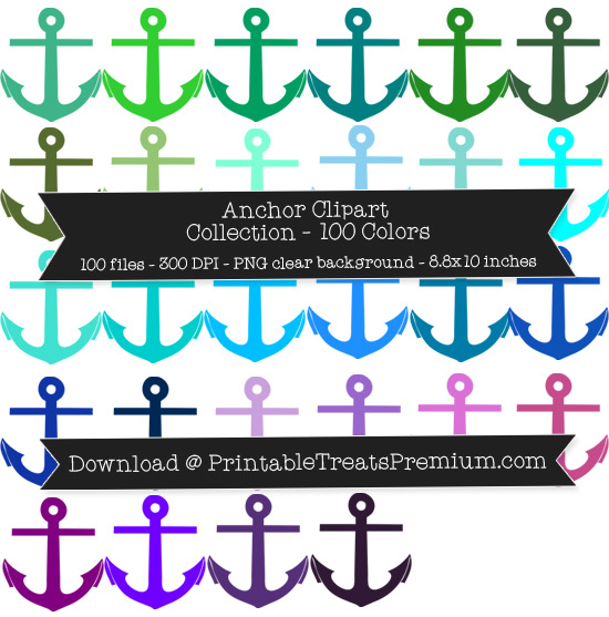 100 Colors Anchor Clipart Collection