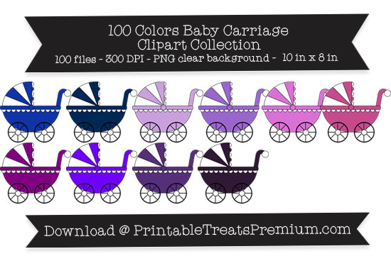 100 Colors Baby Carriage Clipart Collection