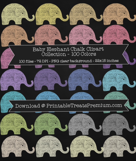 100 Colors Baby Elephant Chalk Clipart Collection