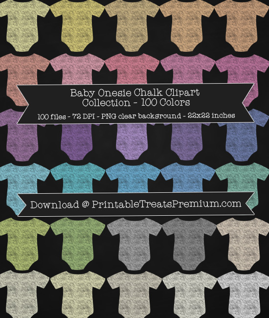 100 Colors Baby Onesie Chalk Clipart Collection