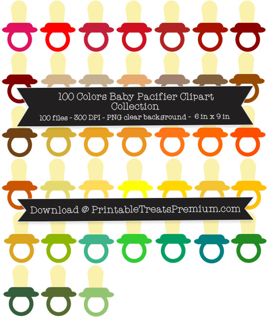 100 Colors Baby Pacifier Clipart Collection