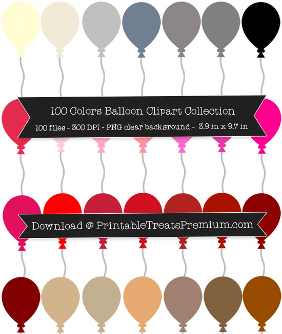 100 Colors Balloon Clipart Collection