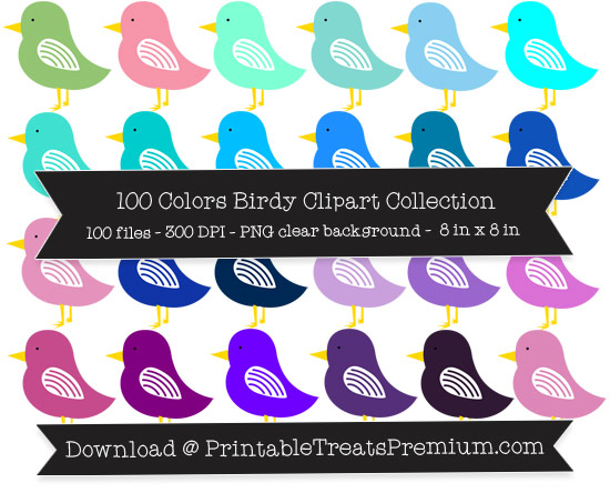 100 Colors Birdy Clipart Collection