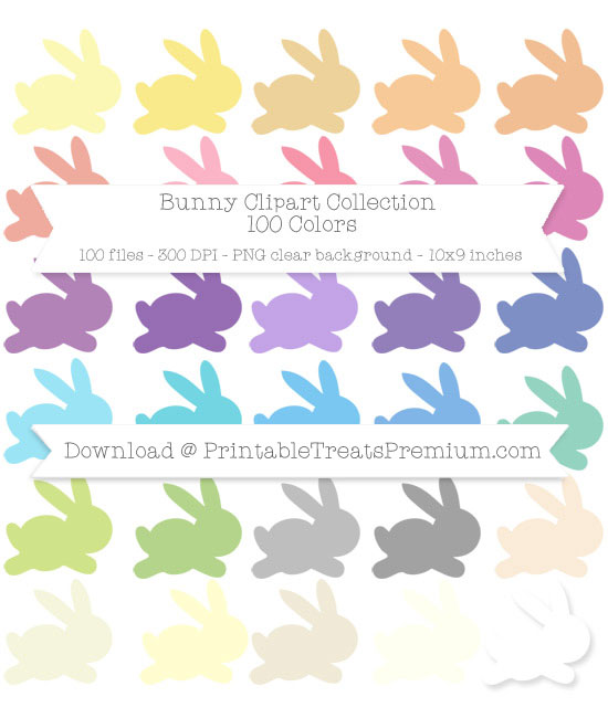 100 Colors Bunny Clipart Collection
