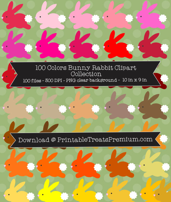 100 Colors Bunny Rabbit Clipart Collection