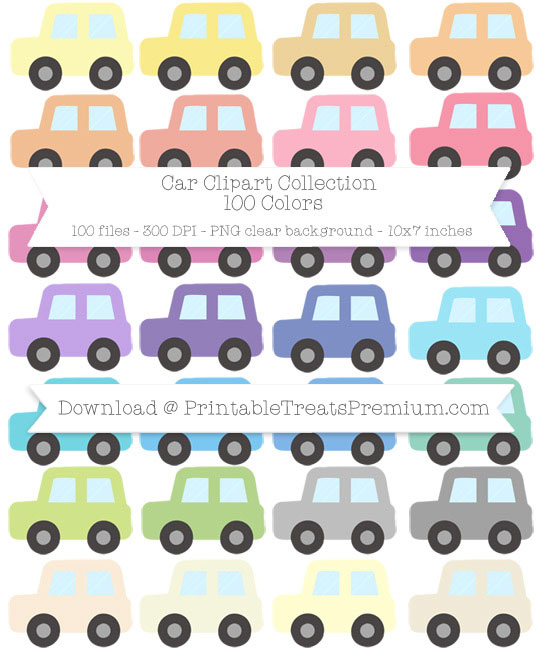 100 Colors Car Clipart Collection