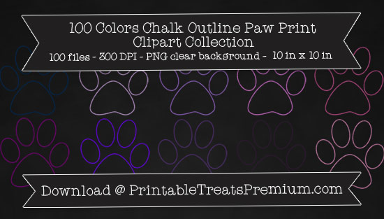 100 Colors Chalk Outline Paw Print Clipart Collection