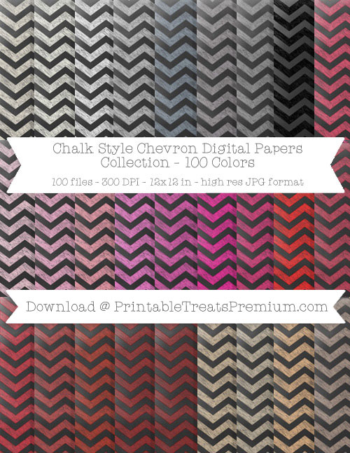 100 Colors Chevron Chalk Style Digital Papers Collection
