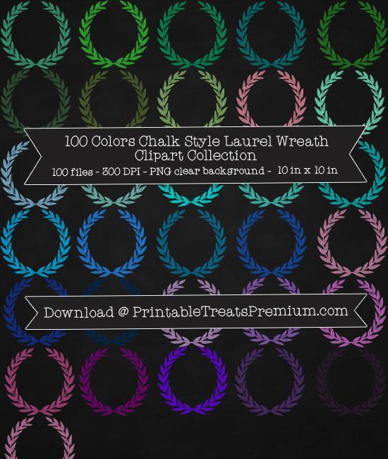 100 Colors Chalk Style Laurel Wreath Clipart Collection