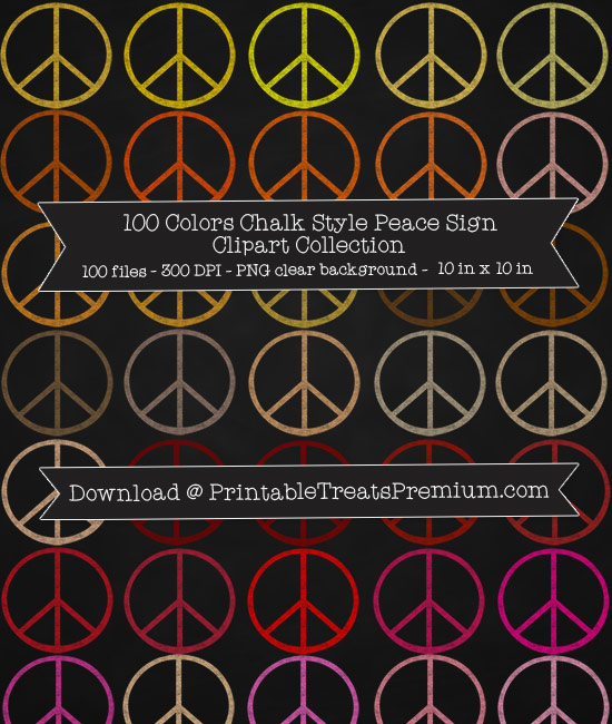 100 Colors Chalk Style Peace Sign Clipart Collection