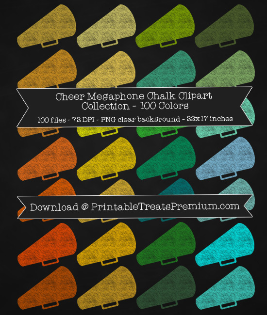 100 Colors Cheer Megaphone Chalk Clipart Collection