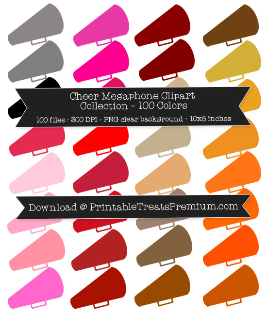 100 Colors Cheer Megaphone Clipart Collection