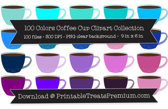 100 Colors Coffee Cup Clipart Collection