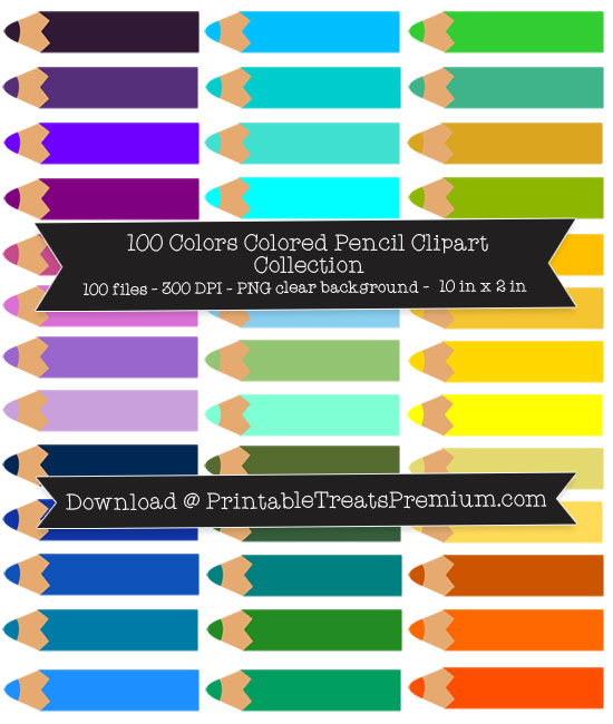100 Colors Colored Pencil Clipart Collection