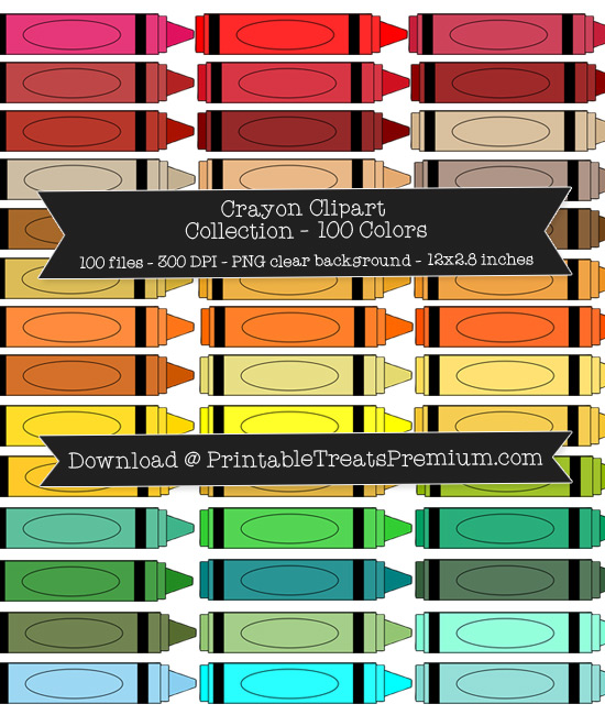 100 Colors Crayon Clipart Collection