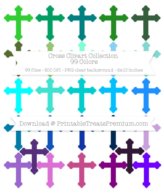 100 Colors Cross Clipart Collection