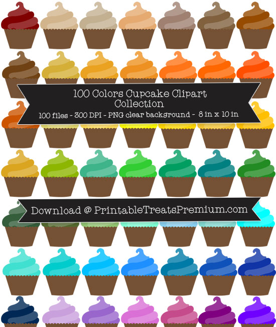 100 Colors Cupcake Clipart Collection