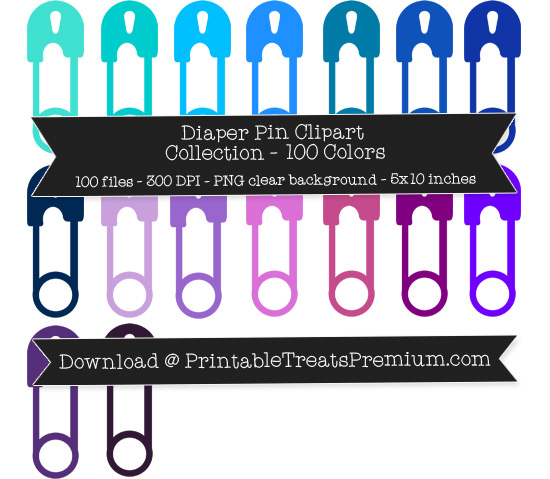 100 Colors Diaper Pin Clipart Collection