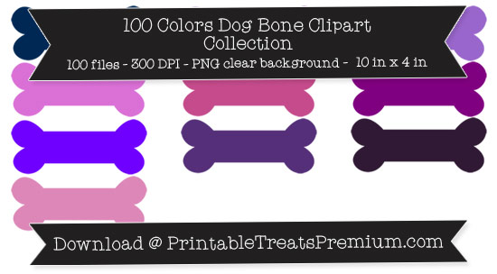 100 Colors Dog Bone Clipart Collection
