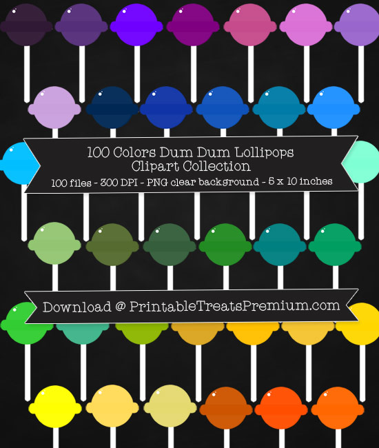 100 Colors Dum Dum Lollipop Clipart Collection