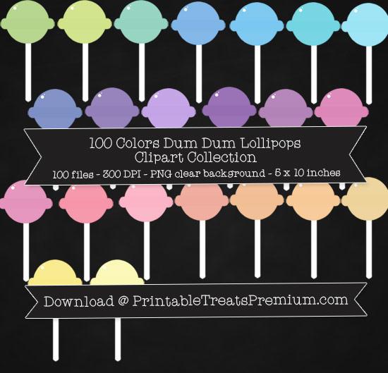 100 Colors Dum Dum Lollipop Clipart Collection