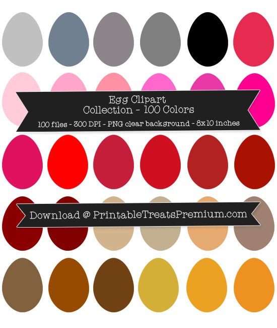 100 Colors Egg Clipart Collection